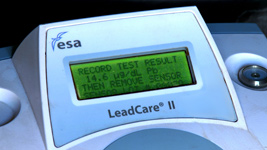 Lead tester readout